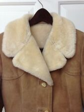 Vintage Women's Coat Shearling Suede Leather Sawyer of Napa Size 10