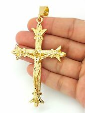 MENS 14K YELLOW GOLD FILLED LARGE JESUS CROSS PENDANT ONLY