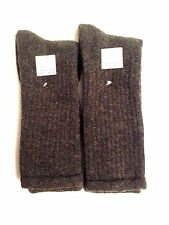 ALPACA / MERINO WOOL 2-PAIR TRAIL / HIKING CREW SOCKS BROWN FITS 8 TO 12.5 SHOE
