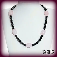 TGW 279.200 cts. Grand Lovely Galilea Rose Quartz Black Agate Necklace (20 in)