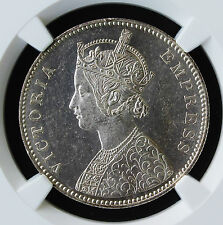 British India 1882-B (FLAT TOP 1) One Rupee NGC AU-Details