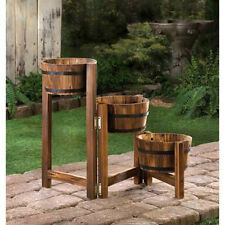 WOOD WHISKEY Wine Barrel Bucket outdoor planter 3 plant stand flower pot screen