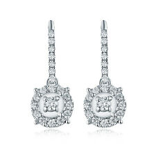 14K White Gold Engagement Wedding Natural South Africa Diamond Drop Earrings