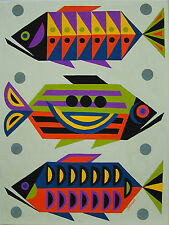 PAINTING RETRO EAMES MID CENTURY MODERN ABSTRACT GEOMETRIC TROPICAL FISH