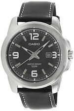 Casio MTP1314L-8A Mens Black Leather Modern Dress Watch New 50M Grey Dark Dial