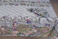 60x84 rectangle EASTER BUNNY PICKET FENCE Tablecloth~New~Made in USA