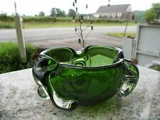 Mid Century Modern Free Form Stretch Biomorphic Chalet Art Glass Emerald Green