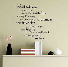 In This House We Are Real Removable Wall Sticker Art Vinyl Home Decor Decal PVC
