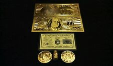 Free Shipping~Gold$100 banknote Rep.* + Coin/Silver Bar&Flake~Collectible Lot!