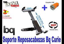 """SOPORTE REPOSACABEZAS PARA Tablet bq CURIE 8"""" GIRATORIA + CARGADOR USB"""