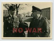 WWII PHOTOS LUFTWAFFE Generalmajor Albrecht Massow MEETING w DECORATED PILOT