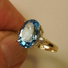 Estate ring 5.7ct Blue Topaz and diamond 14k gold
