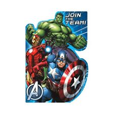 8 Marvel Avengers Comic Birthday Party Invite Invitations Cards plus Envelopes