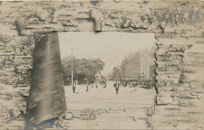 Cambridge MA * Harvard Square & Trolleys RPPC 1906 * Unusual Border