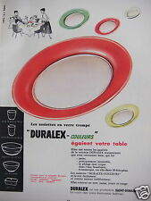 PUBLICITÉ 1954 DURALEX ASSIETTES VERRE TREMPÉ COULEURS SAINT-GOBAIN -ADVERTISING