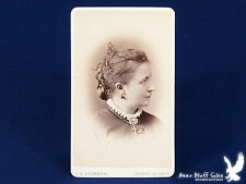 J.E. Livernois QUEBEC Canada CDV Photo Portrait Lady Big Cross Bird Earrings