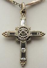 "Vintage 18"" VATICAN LIBRARY COLLECTION Cross Necklace w/ Rhinestones Silver Tone"