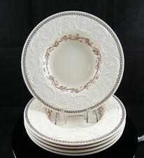 "WEDGWOOD PATRICIAN BROWN IVY & LAUREL 5 PIECE 8 3/8"" RIMMED SOUP BOWLS 1962-1981"