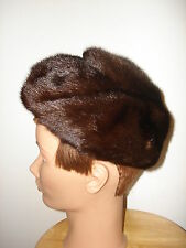 VINTAGE NICE CONDITION UNIQUE STYLED NATURAL BROWN MINK FUR WOMENS HAT