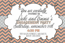 30 Invitations Wedding Engagement or Any Event Chevron Coral Grey Modern