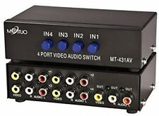 E-SDS 4-way AV Switch Switcher RCA 4 in 1 OUT video composito L/R Audio Box per