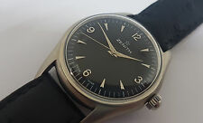 RARE USED VINTAGE ZENITH BLACK DIAL MANUAL WIND MAN'S WATCH SS CASE