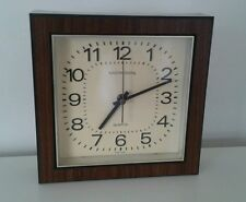Vintage MCM Danish Modern 70's Faux Wood Square Micronta Office Clock