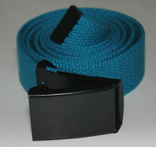 "NEW FLIP TOP ADJUSTABLE 42"" INCH SKY BLUE MILITARY WEB CANVAS BLACK BELT BUCKLE"