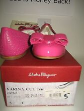 $525 NEW Salvatore Ferragamo Women Varina US 5 C Pink Leather Ballet Flats Shoes
