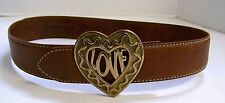 Moschino Redwall Italy 44 euro Brown Leather Heart Love Belt