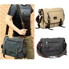 Men Women Casual Vintage Canvas Messenger Bookbag Cross Body Shoulder School Bag