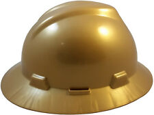 MSA GOLD NEW COLOR! Full Brim V-Gard(SLOTTED) Safety Hard Hat Ratchet Susp NEW!