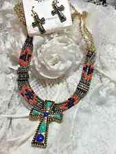 FALL AZTEC WESTERN CORAL TURQUOISE CROSS MULTI STRAND NECKLACE EARRING SET