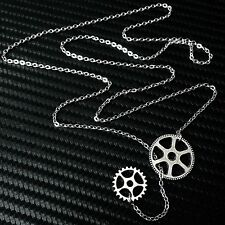 Silver Steampunk Gear Lariat Pendant Necklace--Stainless Steel Flat Cable Chain