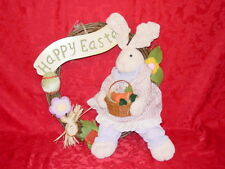 Happy Easter Fabric and Wood Welcome Wreath Vintage Home Interiors & Gifts