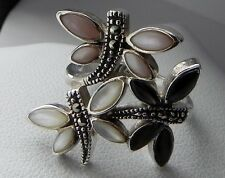 Charming 7g sterling silver 925 mother of pearl & marcasite butterfly ring K.5