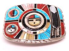 Zuni Sterling Silver Multi Color Inlay Sunface Belt Buckle -Don Dewa