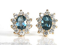 9ct Gold London Blue Topaz stud earrings Gift Boxed Made in UK