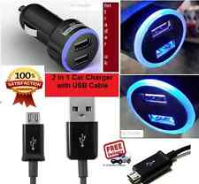 DOUBLE USB CAR CHARGER LED 12-24V FOR HTC DESIRE EYE + MICRO USB CHARGING CABLE