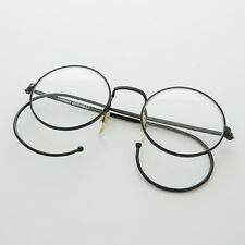 Round Lennon Small Spectacle Vintage Glasses with Cable Temples NOS Black - RUDY