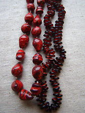 Vintage Jewelry LOT OF 2 Red Laquered Bead Necklaces 451430