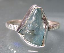 Sterling silver everyday rough apatite stone ring UK N¼-½/US 7. UK Seller