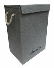 GREY/DENIM FOLDING LAUNDRY BASKET /CLOTHES HAMPER WITH INTERNAL LINING