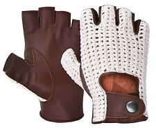 Half Finger Classic Leather Driving Gloves Hand Knitted Crochet String Back