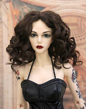 "1/4 bjd 7-8"" doll head deep brown curly long wig dollfie Luts Iplehouse W-JD233M"