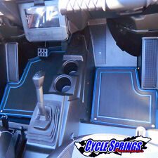 NEW 2014-2016 Polaris RZR XP 1000 2 & 4 SEAT FLOOR MATS BLACK/BLUE FREE SHIPPING