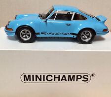 PORSCHE 911 CARRERA RSR 1973 MINICHAMPS BLUE  1/18 NEW IN BOX .