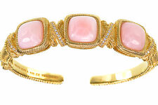 Judith Ripka 14K Clad Sterling Silver Pink Opal Cabachon Station Cuff Size Small