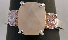 BEAUTIFUL AVON ESTATE STERLING SILVER FACETED PINK QUARTZ RING SIZE 8