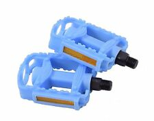 "PAIR CHILDREN'S KIDDIES 1/2"" BIKE PEDALS NON-SLIP SUIT OPC ONE PIECE CRANK BLUE"